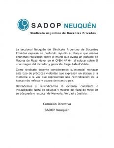 Lee más sobre el artículo Comunicado de Sadop Neuquén por los hechos ocurridos en el CPEM N° 64