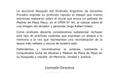 Comunicado de Sadop Neuquén por los hechos ocurridos en el CPEM N° 64